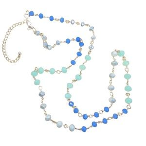 Premier Designs Blue Beaded Layer Necklace